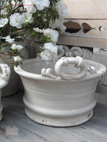 blumentopf keramik l beige craquele mauro gartenleben. Black Bedroom Furniture Sets. Home Design Ideas